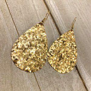 Gold Glitter Teardrops
